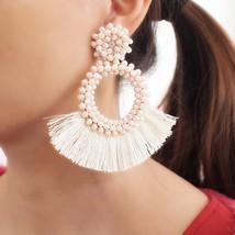 Bohemia Tassel Earrings For Women Statement Fringed Earrings Round Cryst... - $10.36