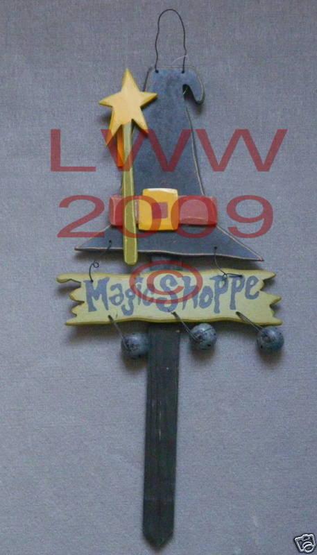 Magic Shoppe Sign Yard Stake primitive Halloween NEW