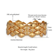 U7 Big Bracelet Geometric Trendy Jewelry Wholesale Dubai Gold Color Rhin... - $24.07