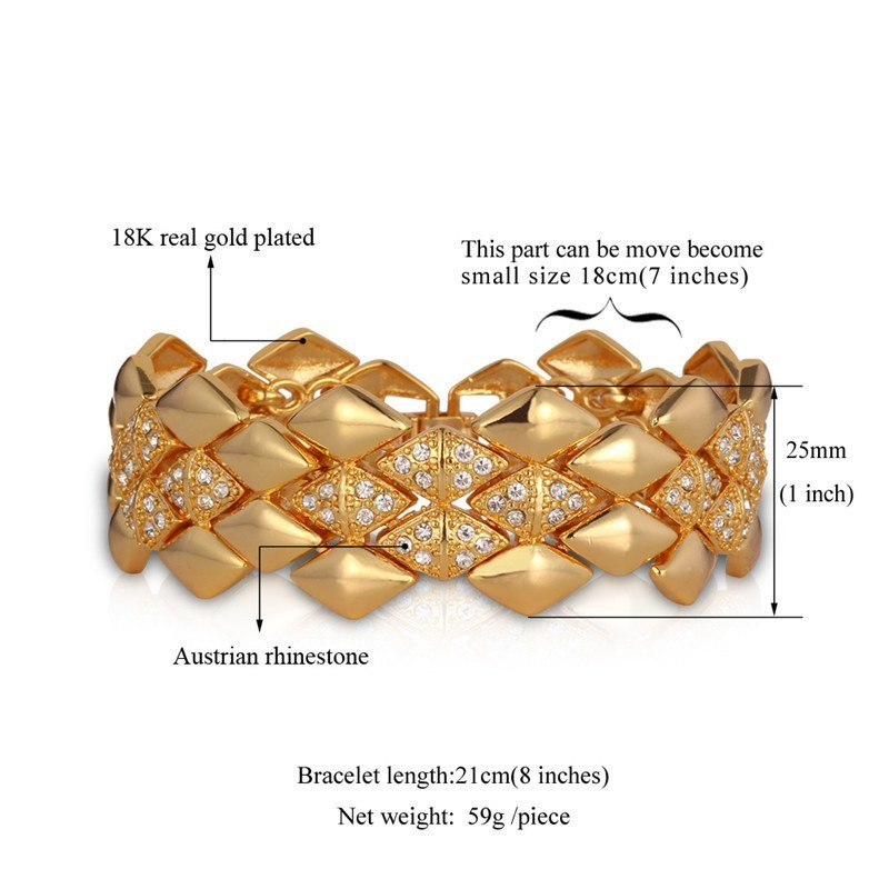 T geometric trendy jewelry wholesale dubai gold color rhinestone 21cm 25mm bracelets bangles for