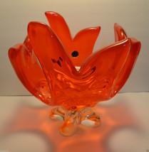 Vintage Huge Lorraine Chalet Canada RED And Orange Art Glass Blown Cente... - $68.40