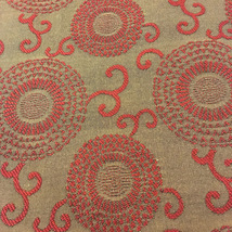 """Taupe Upholstery fabric with burgundy circles. 56 """" wide X 70 """"long (1.94 yards) - $20.00"""