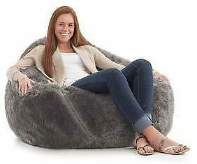 Leather Fur U and I Design Bean Bag and Cover, XXXL/9mm (Gray) Free Shipping image 4