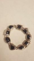 Sterling SILVER Bracelet Vintage BLACK Onyx Stones HEART Square Oval Lin... - $37.54