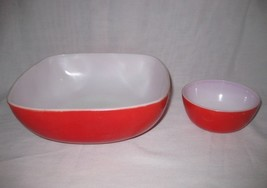 Neat Vintage Pair Red PYREX Red A-3 Casserole Ovenware Dish And Bowl Misc - $24.00