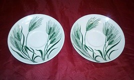 Two (2) Homer Laughlin Wheat Americana Saucers Green And White Saucer - $14.84