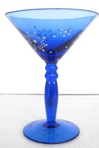 Handblown Martini Cocktail Snowflake Designed Cobalt Blue Color Collecti... - $24.99