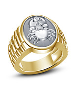 Cancer Zodiac Mens Anniversary Pinky Ring 14k Gold Over 925 Sterling Rea... - £86.26 GBP