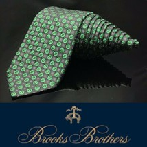 "Brooks Brothers 346 ""Italian Silk"" Bright Green Black Skinny Dapper Luxury Tie - $49.68"