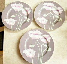 "Fitz and Floyd ""Pavot Gris""  3 Salad Plates Vintage 1981 Made Japan - $23.38"