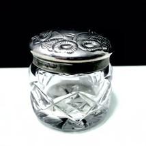 Waterford Crystal Vintage Vanity Dresser Pill Jar Floral Silver Plated L... - $42.95