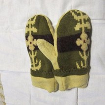 Recycled Handmade Wool Ladies Teens Mittens Yellow/Brown/Green Size M/L - $19.80