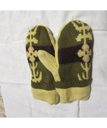Recycled Handmade Wool Ladies Teens Mittens Yellow/Brown/Green Size M/L - $19.21