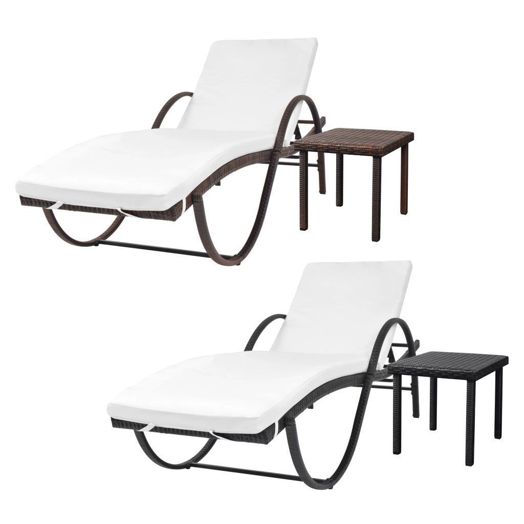 vidaXL Sunlounger w/ Table Poly Rattan Wicker Patio Sun Day Bed Lounge 2 Colors