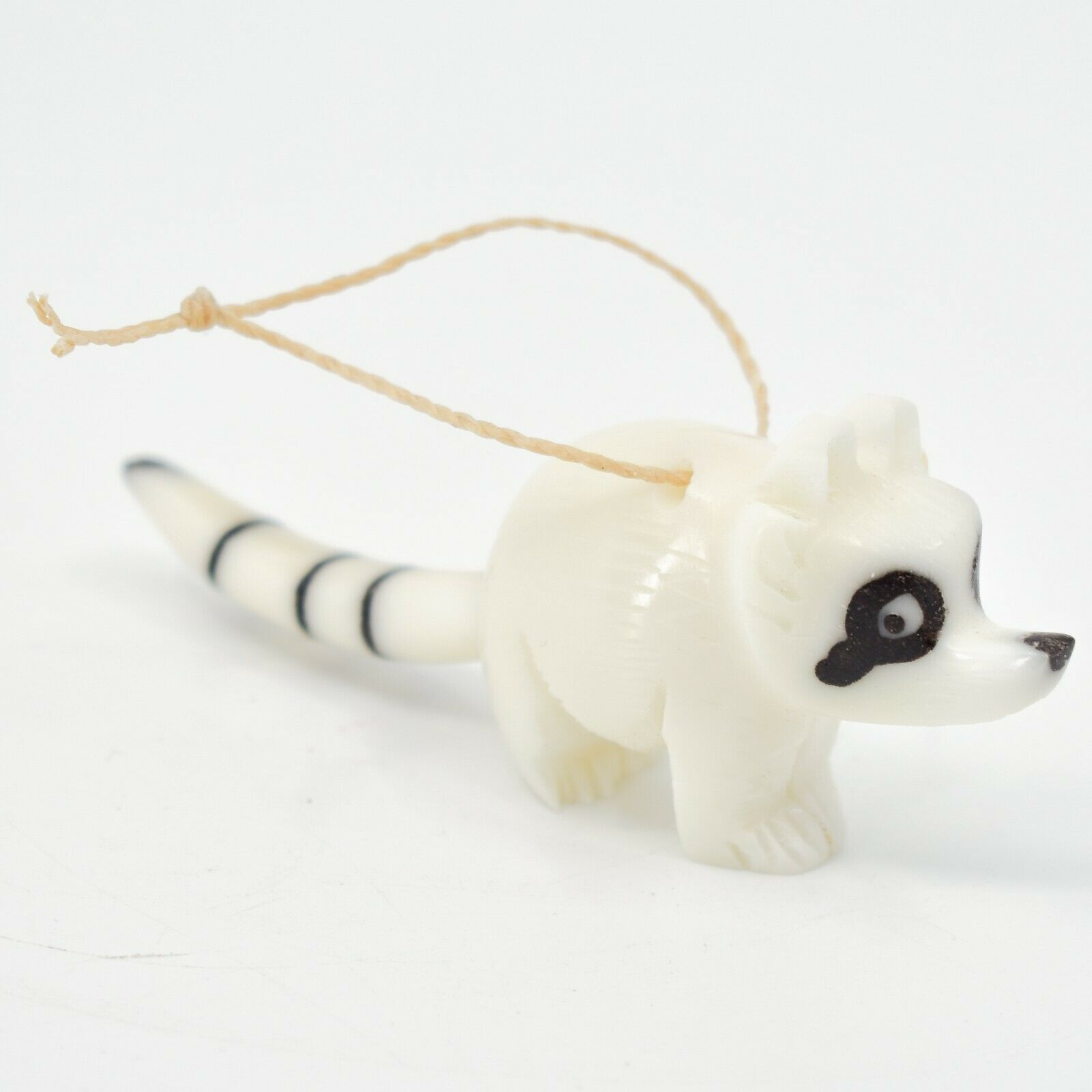 Hand Carved Tagua Nut Carving Raccoon Hanging Ornament Made in Ecuador