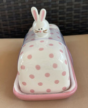 New Ceramic Bunny Rabbit Covered Butter Dish Pink With Polka Dots 7x5x3.... - $18.96