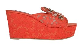 Dolce & Gabbana Red Lace Crystal Mules Wedge Sandal Shoes - $484.70