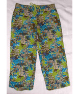 Ladies Sag Harbor CAPRIS Pants Size 14 Tropical Green Turquoise Preowned - $14.99