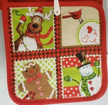 SET of 2 Printed Kitchen Pot Holders, 4 CHRISTMAS CHARACTERS, red back b... - $7.91