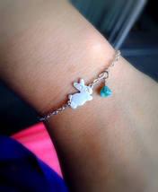 Tiny Siver Bunny Bracelet Tiny Turquoise Beads Bracelet Nature Bracelet ... - $24.00