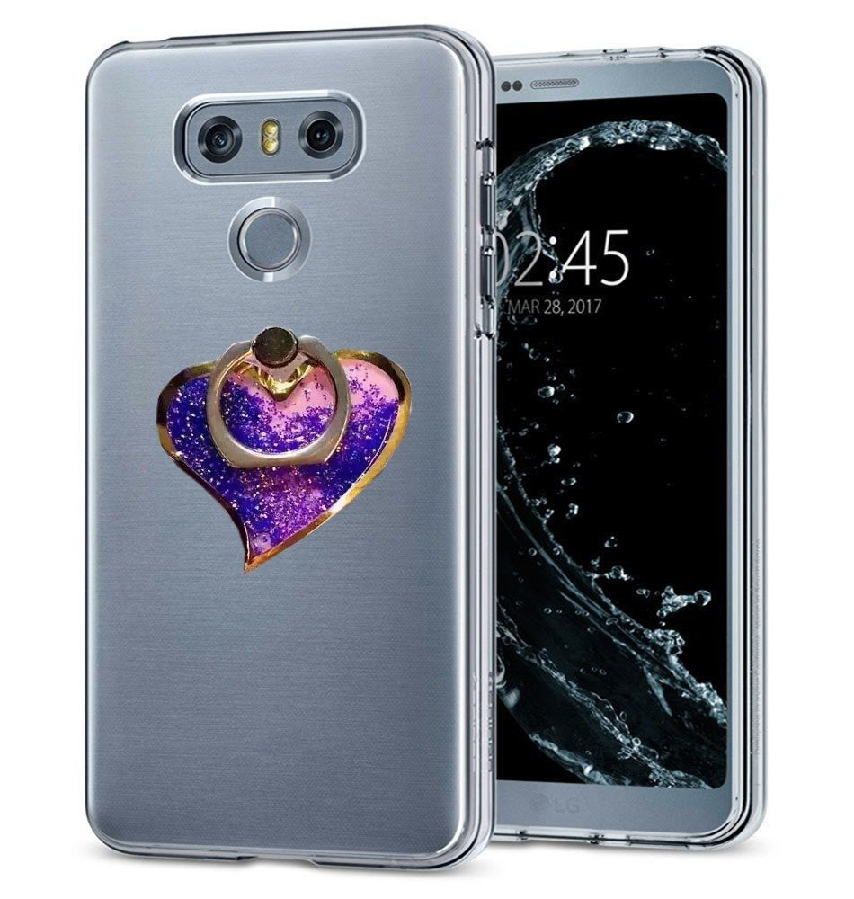 HTC U Play Case,Creative Handmade Ocean Heart 360 Rotating Ring Stand Kickstand