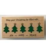 Stampabilities Rubber Stamp Joy Hope Peace with Trees IR1007 3.75 x 1.75... - $5.18