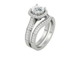 7.0mm Round Cut 1.30ct Moissanite Halo Bridal Wedding Ring Set In 10k White Gold - $1,629.99