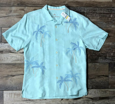 Tommy Bahama Scattered Palms - Blue Orchid Shirt Short Sleeve Silk Size Medium - $69.29