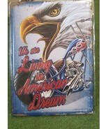American Dream Eagle Motorcycle Metal Sign 12 x 17 Man Cave Garage Works... - £8.43 GBP