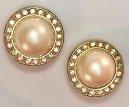 VTG 80s Faux Pearl Cab Pave Rhinestone Gold Tone Chunky Round Pierced Ea... - $22.80