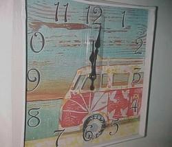 """Surf Hut Mini Van Square Surfer Wall Clock Fancy That Gift & Decor 13"""" x... - $35.63"""