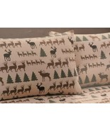 Pillowcases Deer and Pine Trees Cabin Lodge Remington Set of 2 - $19.79