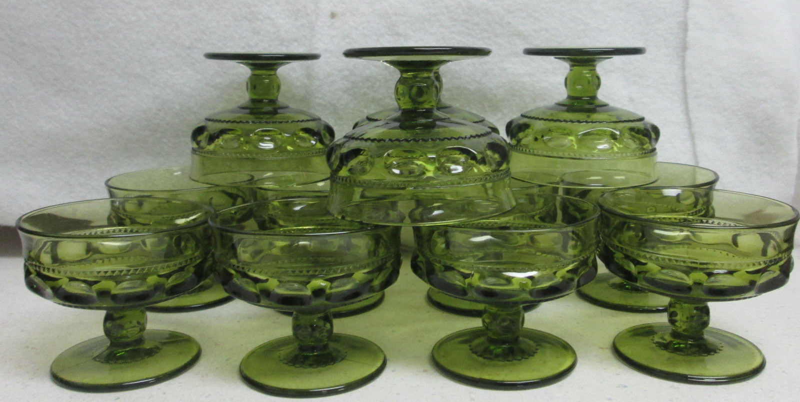12 Indiana Glass Kings Crown Green 4 oz Wine Goblets Colony Thumb Print