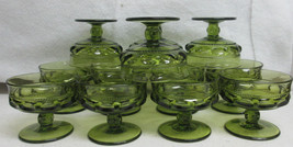 12 Indiana Glass Kings Crown Green 4 oz Wine Goblets Colony Thumb Print  - $56.00