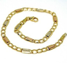 Gold Bracelet Yellow White Pink 18K 750, Inserted Rectangles and Ovals, ... - $279.32