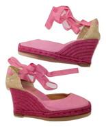 Christian LOUBOUTIN Pink Canvas Espadrille Wedge Sandals sz 40/9 - $96.56