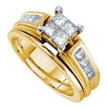 14kt Yellow Gold Princess Diamond Cluster Bridal Wedding Engagement Ring Set - $1,999.00