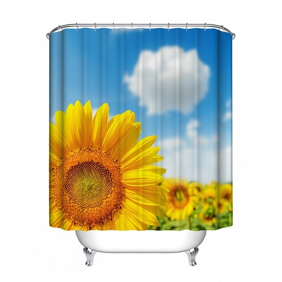 shower curtain polyester waterproof bathroom curtain decorations sunflower ink lotus camellia 2