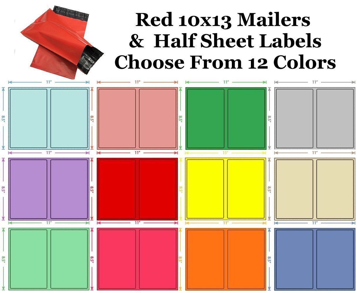10x13 ( Red ) Poly Mailers + Colored Half Sheet Self Adhesive Shipping Labels