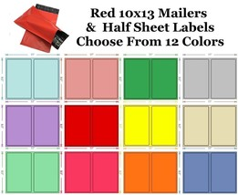 10x13 ( Red ) Poly Mailers + Colored Half Sheet Self Adhesive Shipping L... - $1.99+