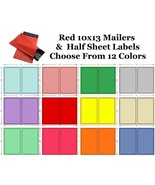 10x13 ( Red ) Poly Mailers + Colored Half Sheet Self Adhesive Shipping L... - $2.99+