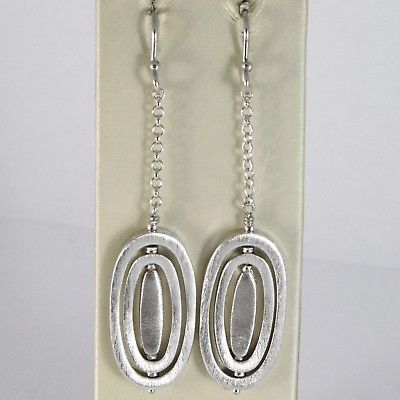 SOLID 925 STERLING SILVER PENDANT EARRINGS WORKED OVALS, 2.5 INCHES LONG