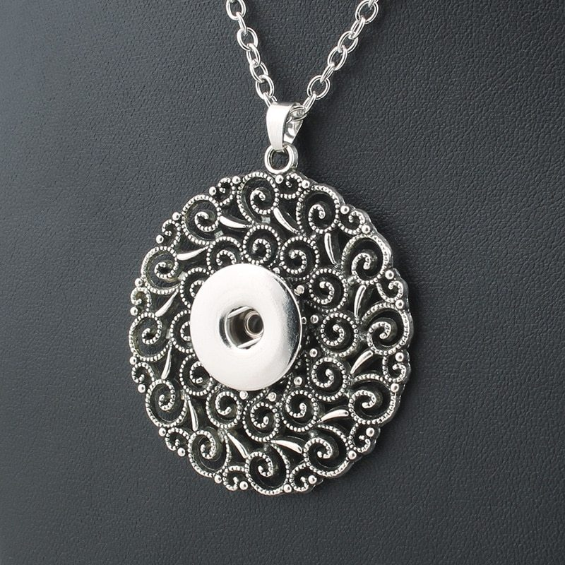 bohemian choker necklace long 18mm snap button necklaces & pendants fashion stat