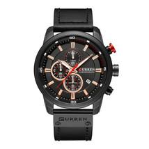 Curren Men's Leather Chronograph Quartz Wrist Watch 8291 (Black) - $35.10
