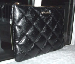 KATE SPADE BLACK QUILTED LEATHER LIBERTY STREET LITTLE GIA CLUTCH BAG NWT  - £63.54 GBP
