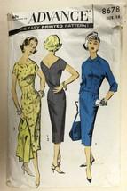 Vtg 1953 Sewing Pattern Advance #8678 Sheath Dress + Jacket SZ 12 1950s - $25.48