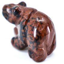 Mahogany Obsidian Gemstone Tiny Miniature Bear Figurine Hand Carved China image 3