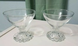"Lot 2 Vintage Boopie Glass Candlewick Sherbet Dessert 3 1/2"" Cups Anchor... - $14.93"
