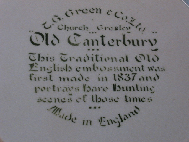 TG Green England Old Canterbury Hare and Fox Hunt Plate, Hard to Find Piece