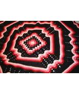Crocheted king size afghan/bedspread multi pink/black granny/ripple - $150.00